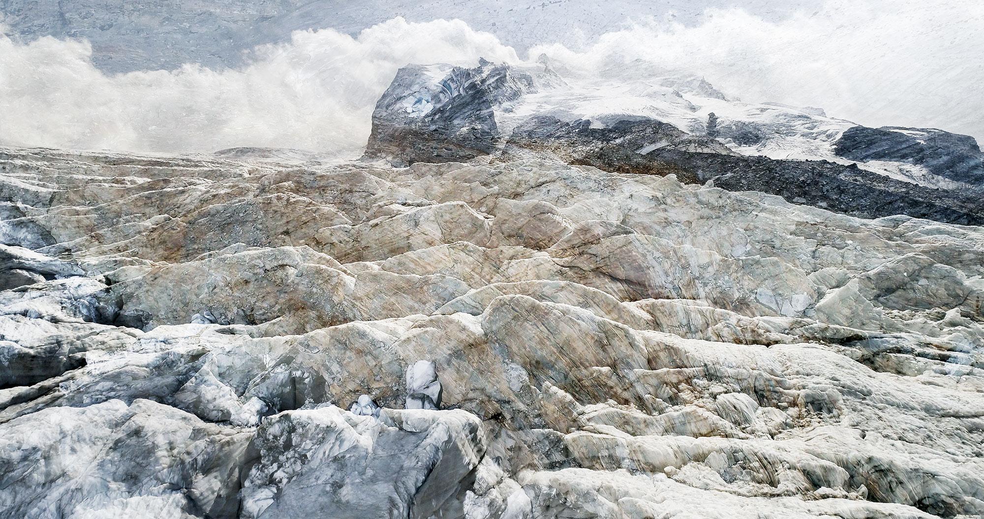 #33 Glaciers offset, 2017, photographie reconstruite à partir de bandes videos, réalisées sur le glacier Gornergletscher  #33 Glaciers offset, 2017, photographie reconstruite à partir de bandes videos, réalisées sur le glacier Gornergletscher