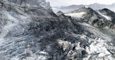 #36 Glaciers offset, 2017, photographie reconstruite à partir de bandes videos, réalisées sur les glaciers de Moiry et Ferpècle