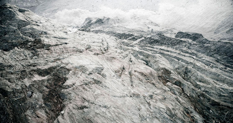 glacier Gornergletscher, Suisse,   #04 Glaciers offset, 2017, photographie reconstruite à partir de bandes videos, réalisées sur le glacier Gornergletscher