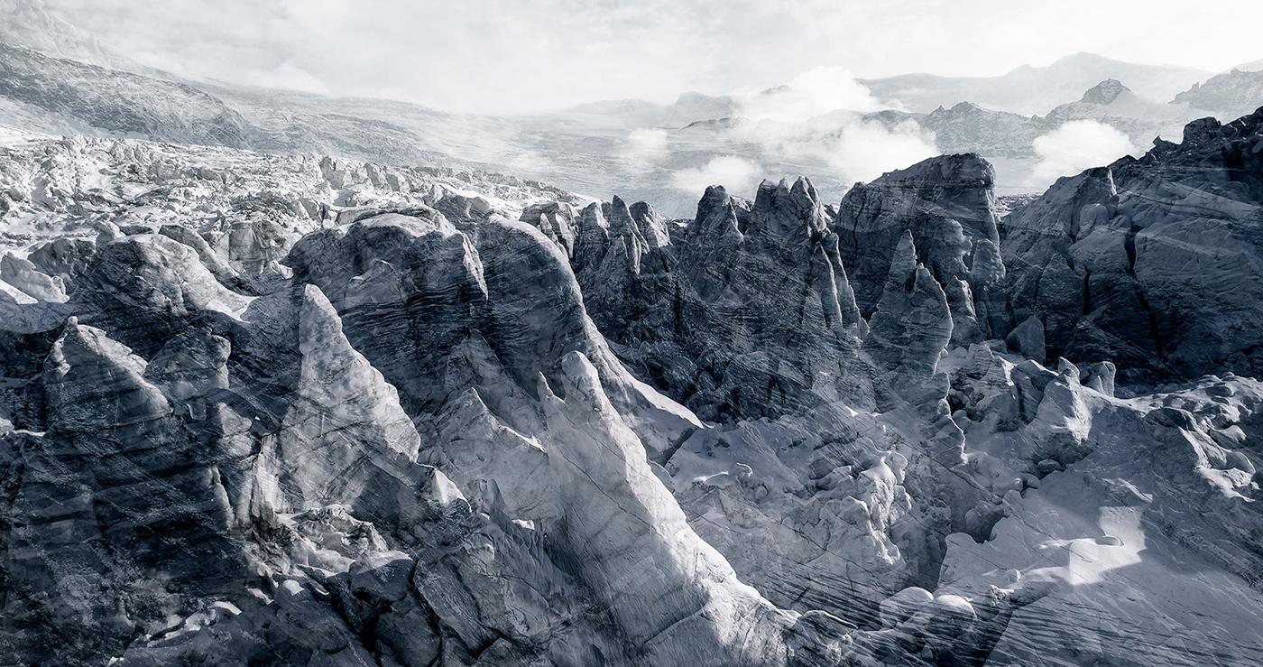#41 Glaciers offset, 2017, photographie reconstruite à partir de bandes videos, réalisées sur le glacier de Ferpècle  #41 Glaciers offset, 2017, photographie reconstruite à partir de bandes videos, réalisées sur le glacier de Ferpècle