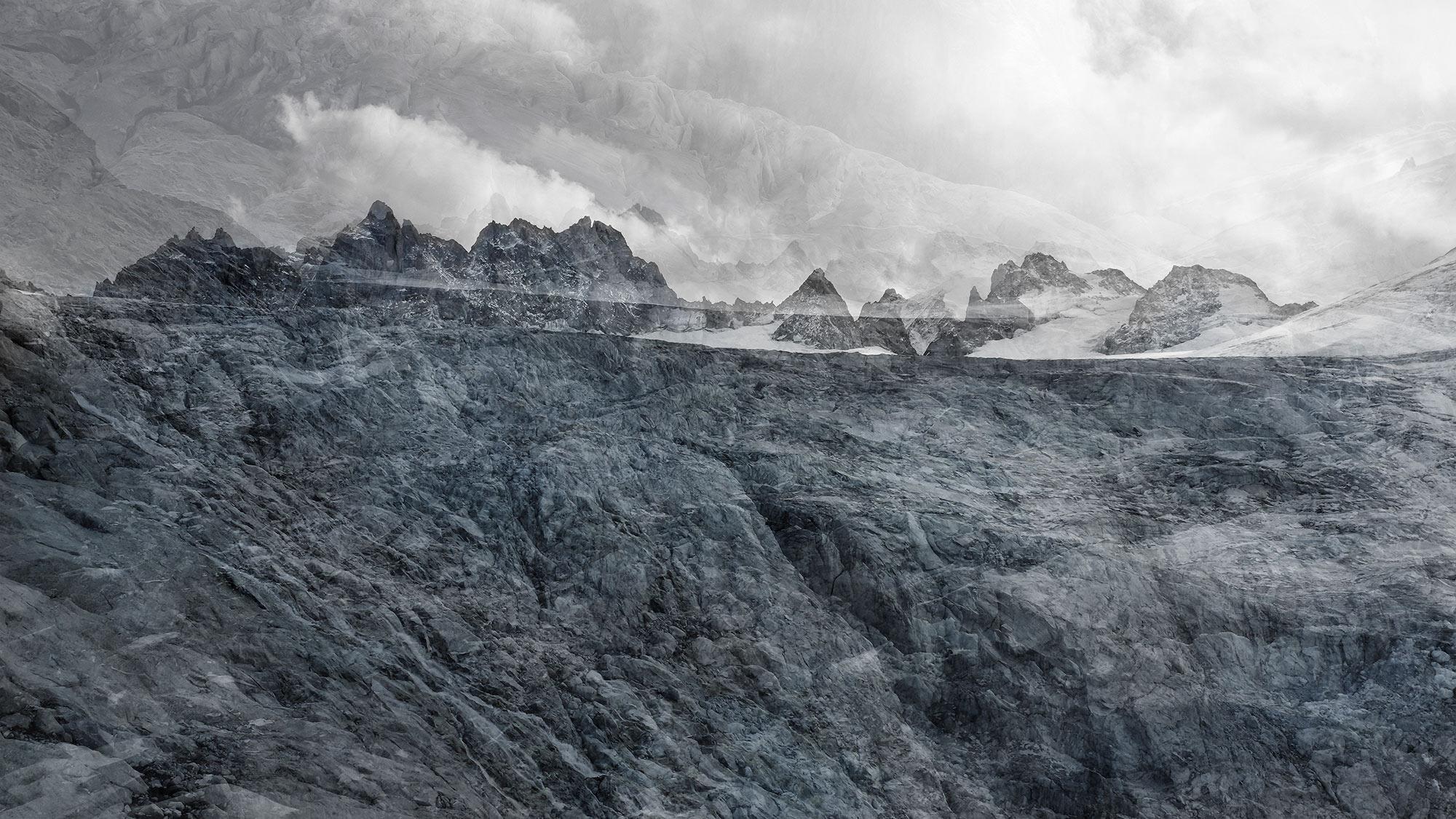 #163 Glaciers offset, 2019, photographie reconstruite à partir de bandes videos, réalisées sur les glaciers du Moming, du Trient et du Mont Miné