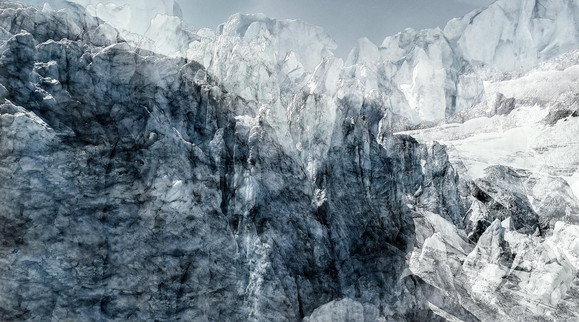 #171 Glaciers offset, 2019, photographie reconstruite à partir de bandes videos, réalisées sur le glacier de Moiry